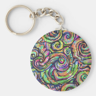 Colorful Abstract Swirls Keychain