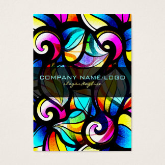 Colorful Abstract Swirls-Stained Glass Look Business Card