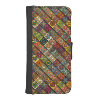 Colorful abstract tile pattern design iPhone SE/5/5s wallet case