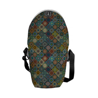 Colorful abstract tile pattern design messenger bag