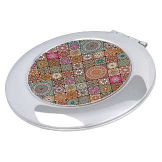 Colorful abstract tile pattern design mirror for makeup