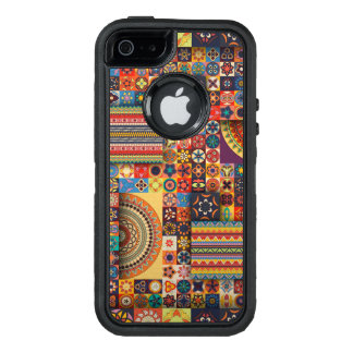 Colorful abstract tile pattern design OtterBox defender iPhone case