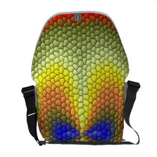Colorful abstract tile pattern messenger bags