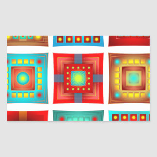Colorful Abstract Tile Pattern Rectangular Sticker