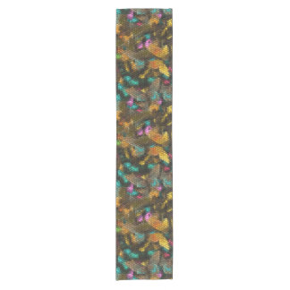 Colorful abstract tiles short table runner