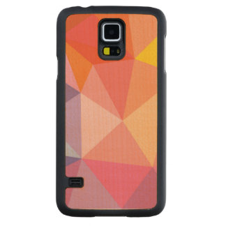 Colorful Abstract Triangle Pattern Carved Maple Galaxy S5 Case
