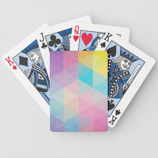Colorful abstract triangles background bicycle playing cards
