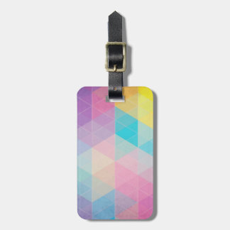 Colorful abstract triangles background luggage tag