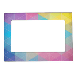 Colorful abstract triangles background magnetic frames