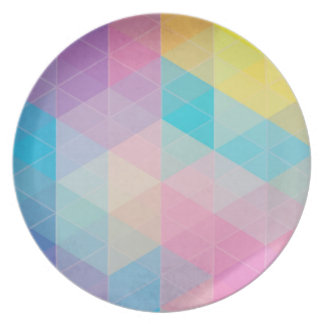 Colorful abstract triangles background party plate