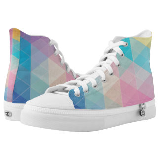 Colorful abstract triangles background printed shoes