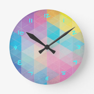 Colorful abstract triangles background round clock