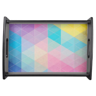Colorful abstract triangles background serving tray