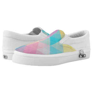 Colorful abstract triangles background Slip-On shoes