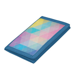 Colorful abstract triangles background tri-fold wallets