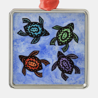 Colorful Abstract Turtles Christmas Ornament