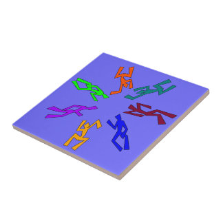 Colorful Abstract Wacky Dancer Design Small Square Tile