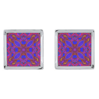 Colorful Abstract Wave Silver Finish Cufflinks