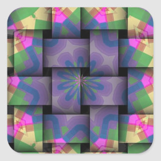 Colorful abstract weave pattern square stickers