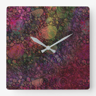 Colorful Abstract with Black & Grungy Circles Square Wall Clock