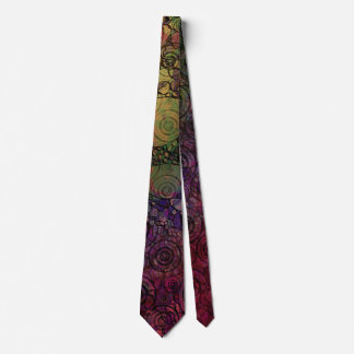 Colorful Abstract with Black & Grungy Circles Tie