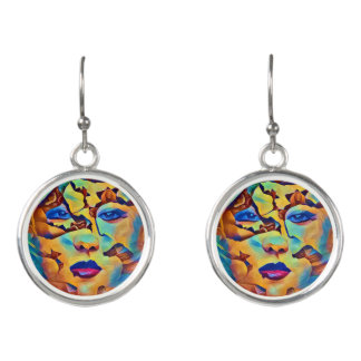 Colorful Abstract Woman Earrings