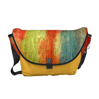 Colorful Abstract Wood Grain Messenger Bags