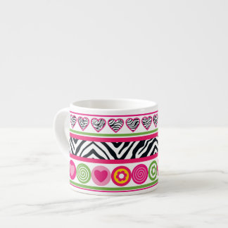 Colorful abstract zebra hearts and dots pattern espresso mug