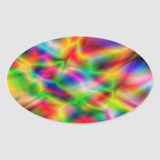 Colorful Abstraction Oval Sticker