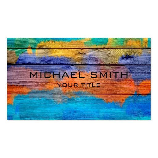 Colorful Acrylic Painting on Wood #2 Business Card Templates
