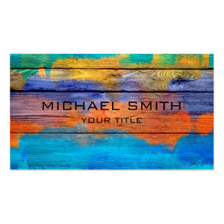 Colorful Acrylic Painting on Wood #2 Pack Of Standard Business Cards