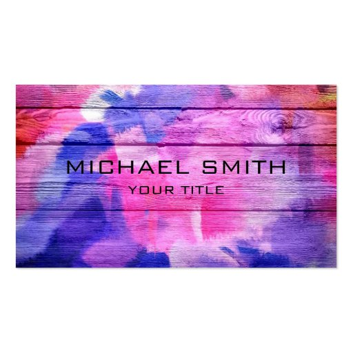 Colorful Acrylic Painting on Wood #3 Business Card Template