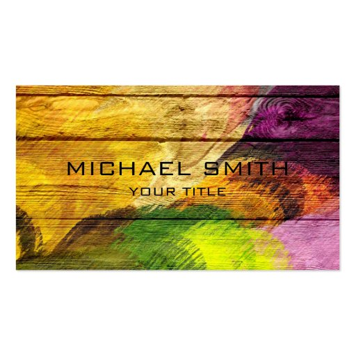 Colorful Acrylic Painting on Wood #4 Business Card Templates