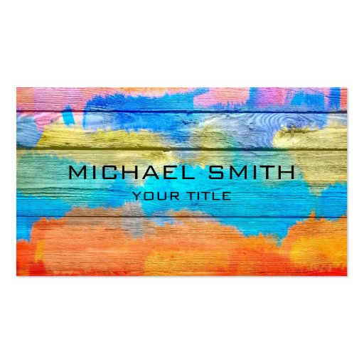 Colorful Acrylic Painting on Wood Business Card Templates