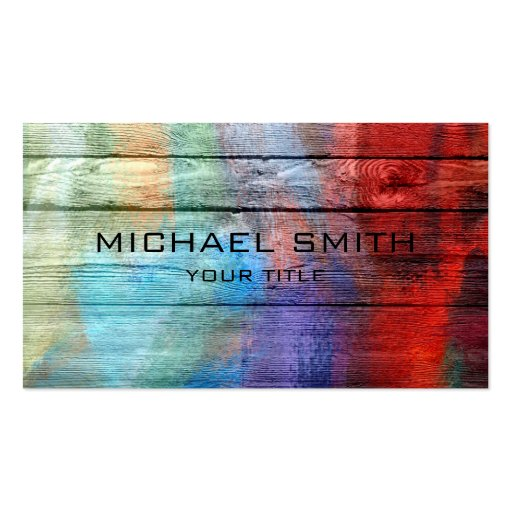 Colorful Acrylic Painting on Wood Business Cards