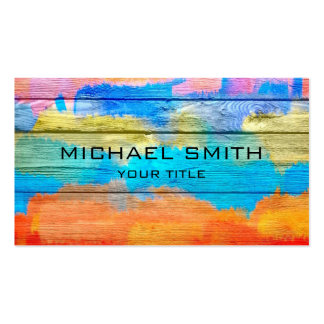 Colorful Acrylic Painting on Wood Pack Of Standard Business Cards