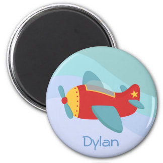 Colorful & Adorable Cartoon Aeroplane 6 Cm Round Magnet