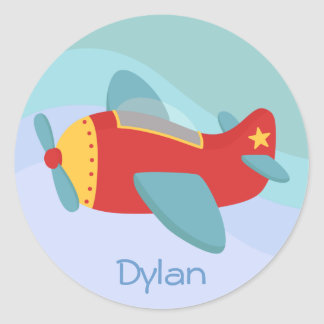 Colorful & Adorable Cartoon Aeroplane Classic Round Sticker