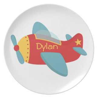 Colorful & Adorable Cartoon Aeroplane Plate