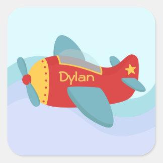 Colorful & Adorable Cartoon Aeroplane Square Sticker