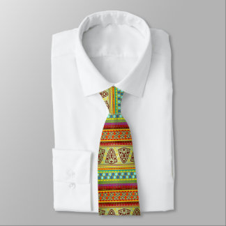 Colorful African Mask Stripe Pattern Tie