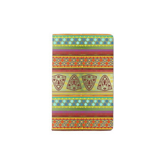 Colorful African Masks Stripe Kente Pattern Pocket Moleskine Notebook