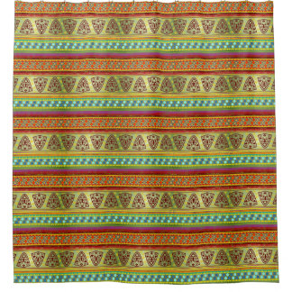 Colorful African Masks Stripe Kente Pattern Shower Curtain