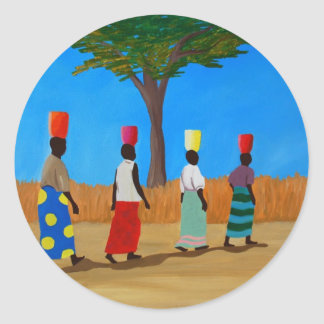 Colorful African Women carrying buckets Classic Round Sticker