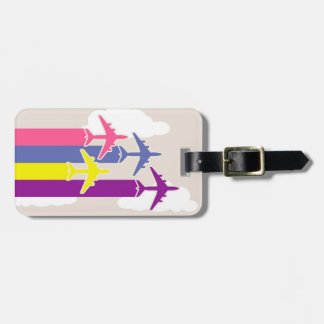 Colorful airplanes luggage tag