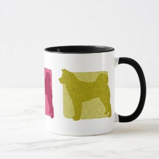 Colorful Akita Silhouettes Mug