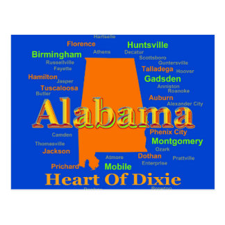 Colorful Alabama State Pride Map Post Card
