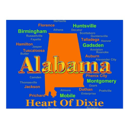 Colorful Alabama State Pride Map Post Card