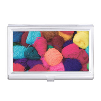 Colorful Alpaca Wool, Huaraz, Cordillera Blanca Business Card Holder