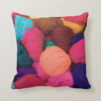 Colorful Alpaca Wool, Huaraz, Cordillera Blanca Throw Pillow